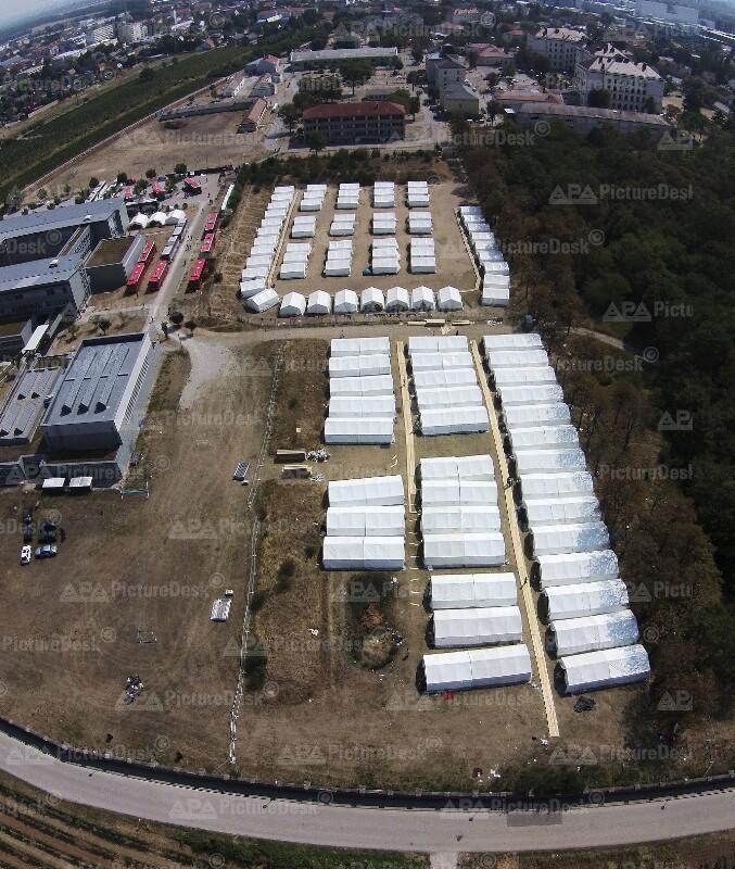 Eine Luftaufnahme des Erstaufnahmezentrums Traiskirchen