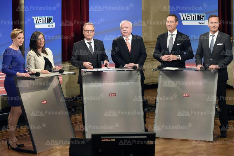 Beate Meinl-Reisinger, Maria Vassilakou, Paul Tesarek, Michael Häupl, Heinz-Christian Strache und Manfred Juraczka