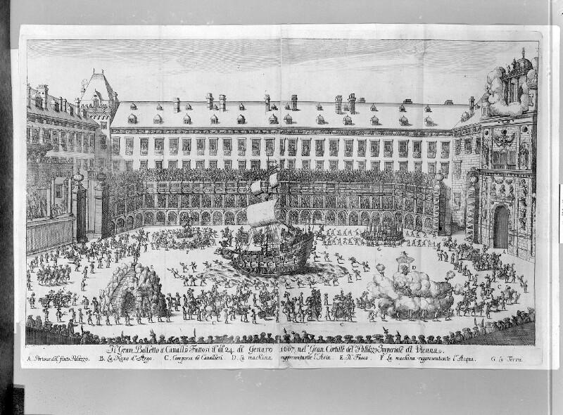 Rossballett im Wiener Burghof anlässlich der Vermählung Kaiser Leopold I. 1667