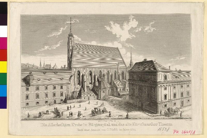Die Allerheiligen-Kirche im Bürgerspital und das alte Kärnthnertor Theater