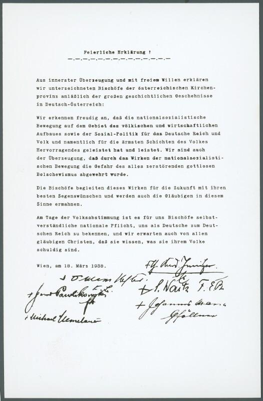 Bekennerschreiben der katholischen Bischöfe Österreichs