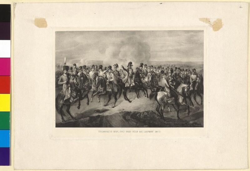 Erzherzog Carl und sein Stab bei Aspern 1809