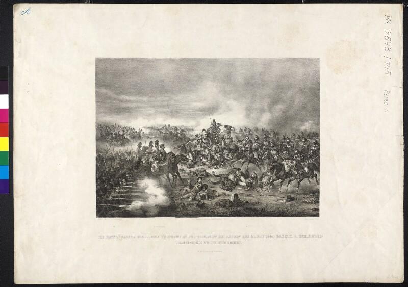 Die französische Cavallerie versucht in der Schlacht bei Aspern den 21. Mai 1809 das k.k. Infanterie-Armee-Corps zu durchbrechen
