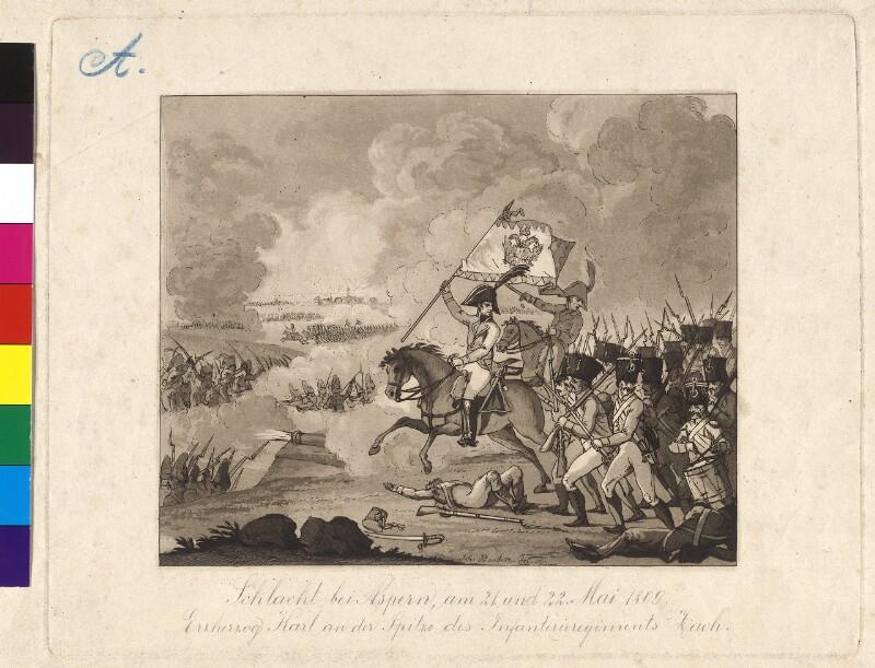 Schlacht bei Aspern, am 21. und 22. Mai 1809. Erzherzog Karl an der Spitze des Infanterieregiments Zach