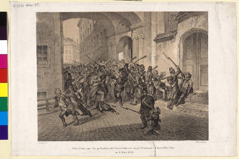 Ergreiffung einer Truppe Raubgesindels beim Einbruche in das Pfarrhaus zu Mariahilf in Wien am 13. März 1848