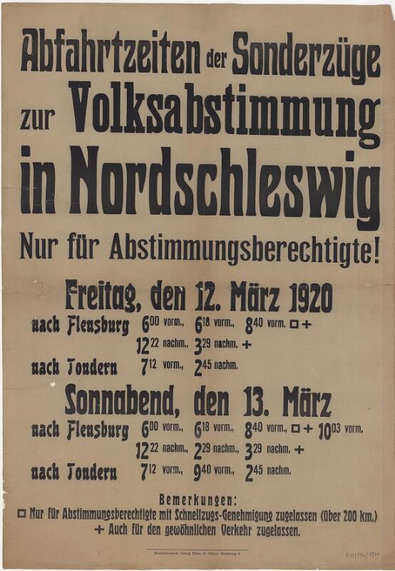 Abfahrtszeiten der Sonderzüge zur Volksabstimmung in Nordschleswig