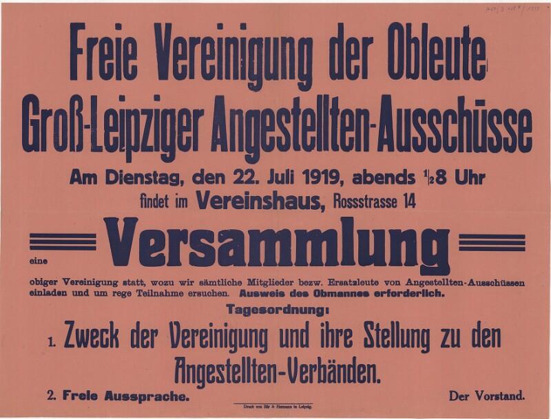 Freie Vereinigung der Obleute Groß-Leipziger Angestellten-Ausschüsse - Versammlung
