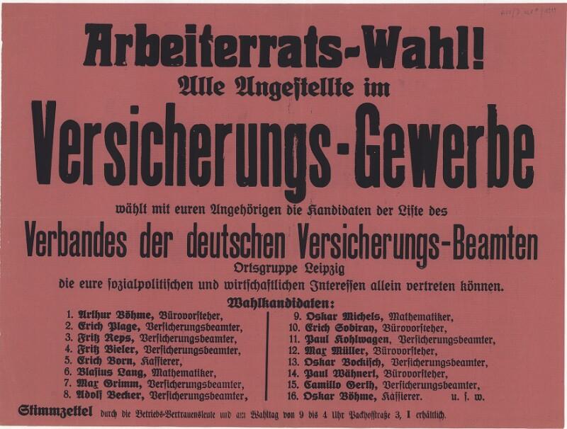 Arbeiterratswahl - Versicherungsgewerbe - Verband der deutschen Versicherungsbeamten