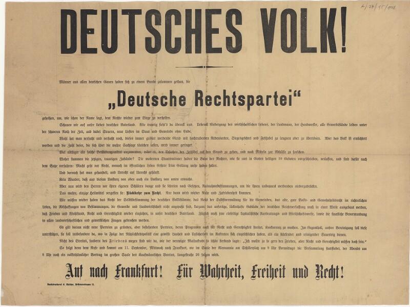 Deutsches Volk! Deutsche Rechtspartei