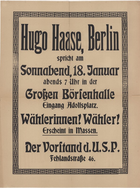 Hugo Haase spricht in der grossen Börsenhalle in Hamburg