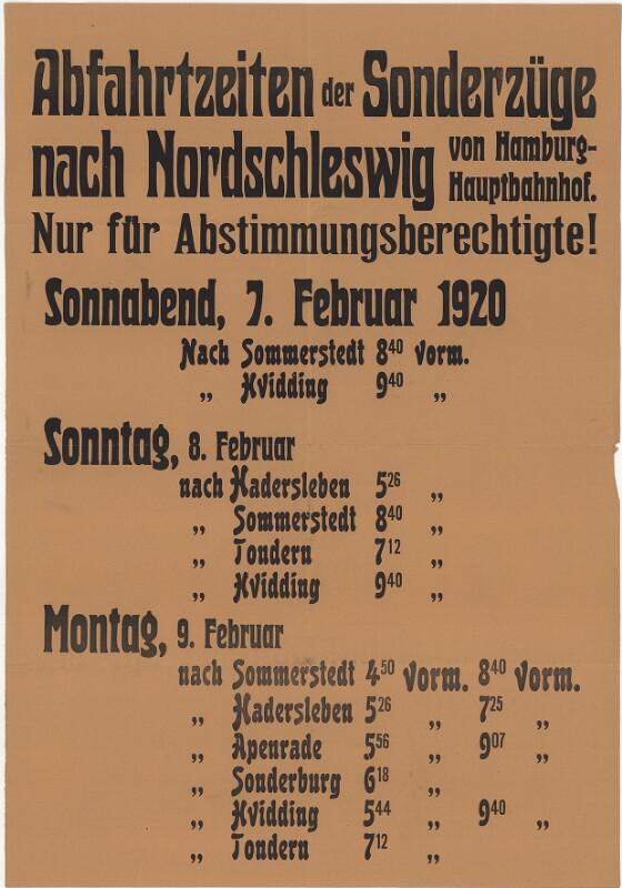 Abfahrtszeiten der Sonderzüge nach Nordschleswig - Nur für Abstimmungsberechtigte!