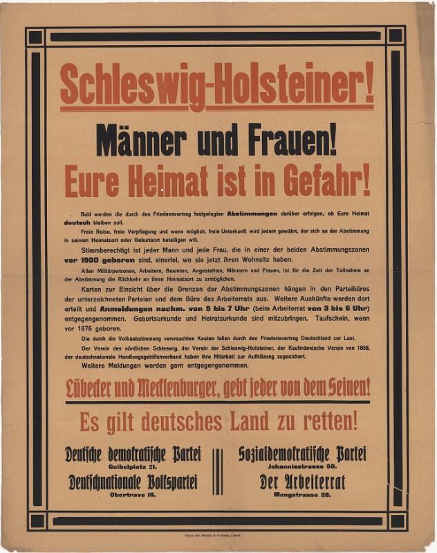 Schleswig-Holsteiner! Männer und Frauen! Eure Heimat ist in Gefahr!