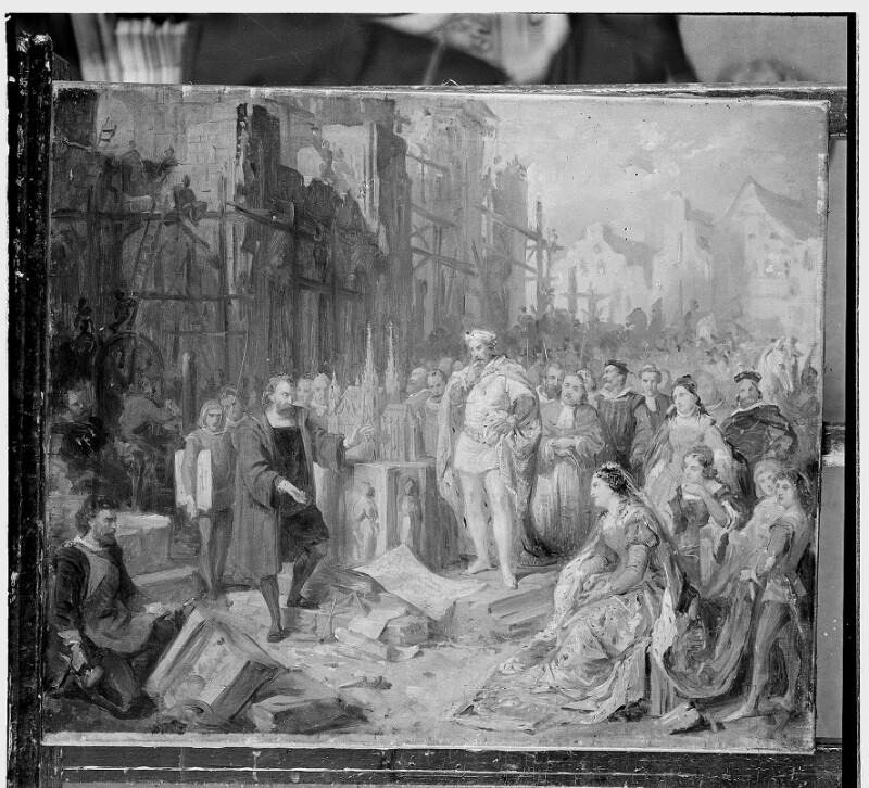 Rudolf IV. beim Bau von St. Stephan in Wien