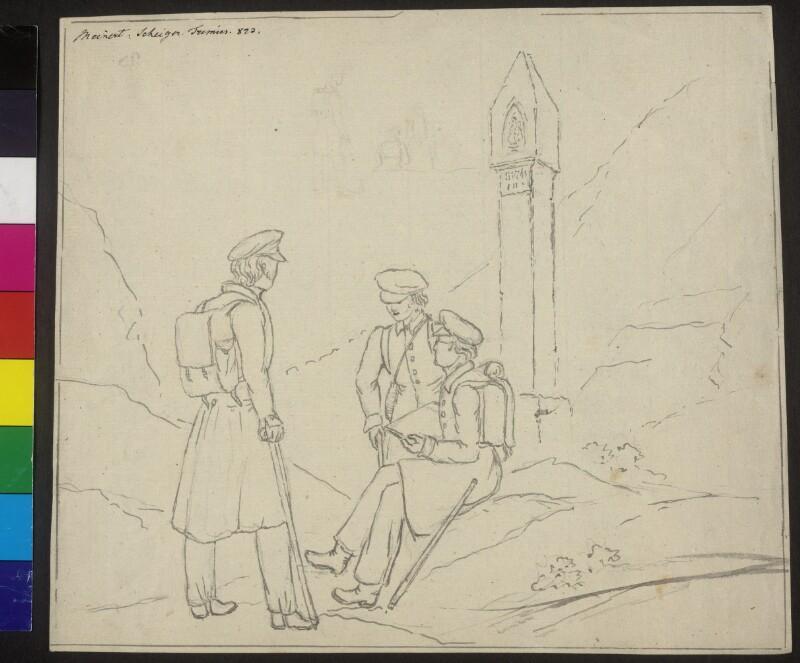 Josef Scheiger mit zwei Begleitern auf einer Wanderung