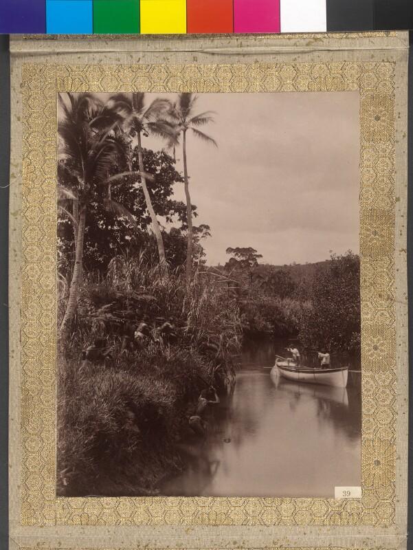 Nachgestellte Szene eines Überfalls auf dem Fluss Visari