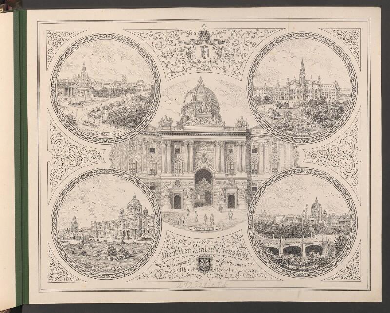 Titelblatt von Die alten Linien Wiens 1891 nach Original-Aquarellen und Zeichnungen von Albert Stächelin