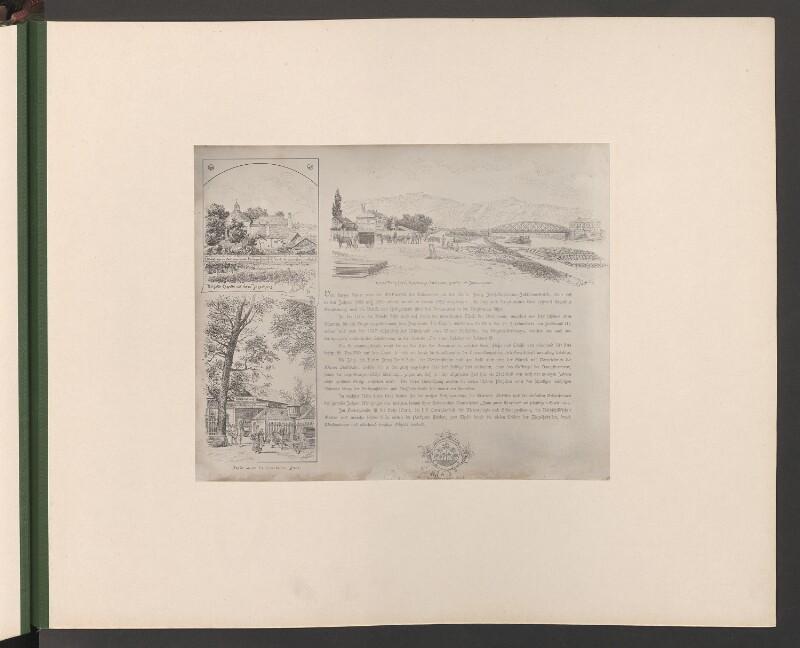 Brigitta-Capelle mit dem Jägerhaus. Partie an der Heiligenstädter Lände. Kaiser Franz Josef-Regierungs-Jubiläums-Brücke mit Donaukanal
