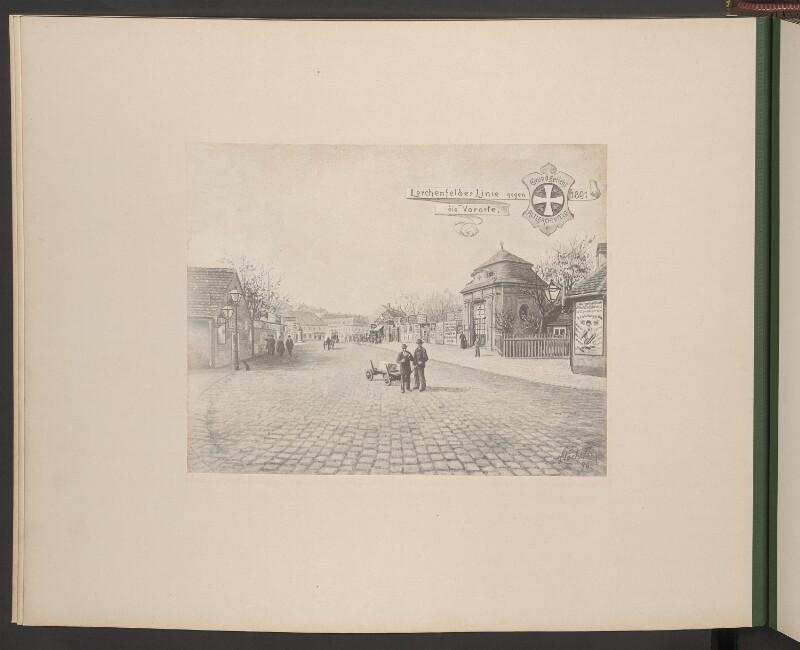 Lerchenfelder Linie gegen die Vororte. Wappen Grundgericht Altlerchenfeld 1891