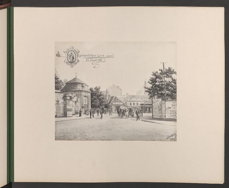 Lerchenfelder Linie gegen die Stadt 1891. Wappen Grundgericht Josefstadt