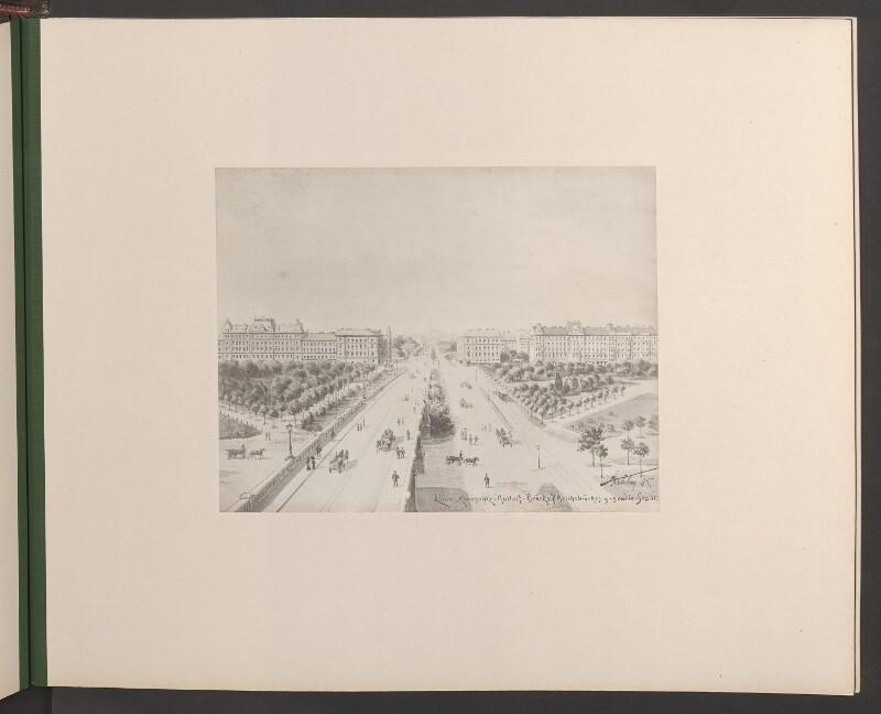 """Linie """"Kronprinz-Rudolf-Brücke"""" (Reichsbrücke) gegen die Stadt"""