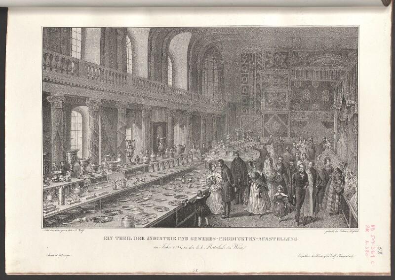 Ein Theil der Industrie und Gewerbs-Produckten-Ausstellung im Jahre 1835, in der k.k. Reitschule in Wien