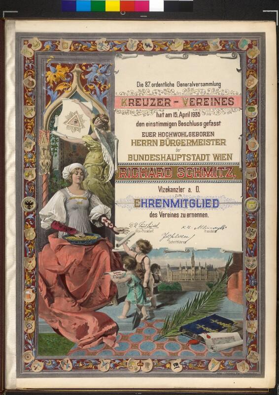 Urkunde zur Ernennung des Bürgermeister Richard Schmitz als Ehrenmitglied des Kreuzer- Vereins