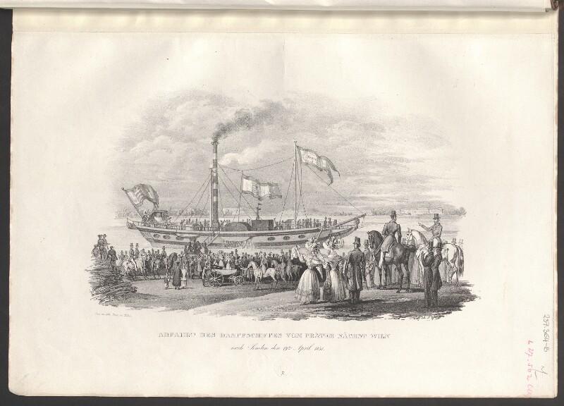 Abfahrt des Dampfschiffes vom Prater nächst Wien nach Semlin den 19.ten April 1831