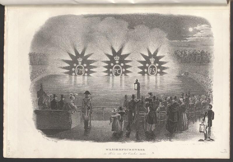 Wasserfeuerwerk in Wien am 4.ten Oktober 1832