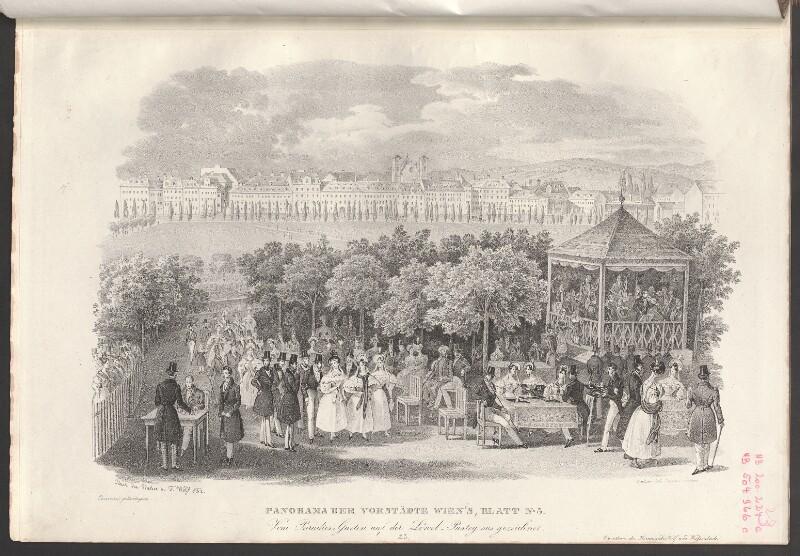 Panorama der Vorstädte Wien's, Blatt No. 3. Vom Paradies-Garten auf der Löwel-Pastey aus gezeichnet