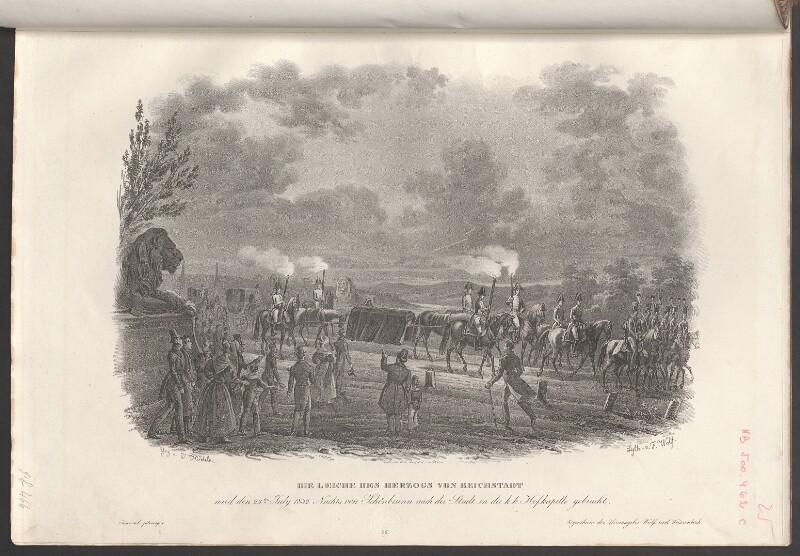 Die Leiche des Herzogs von Reichstadt wird den 23.ten July 1832 Nachts von Schönbrunn nach der Stadt in die k.k. Hofkapelle gebracht