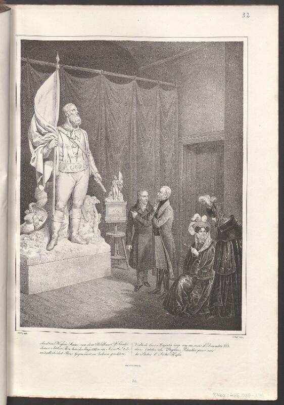 Kaiser Franz I. von Österreich und seine Gattin Karoline Auguste besichtigen im Atelier des Bildhausers Johann Nepomuk Schaller dessen Standfigur des Andreas Hofer, im Dezember 1833