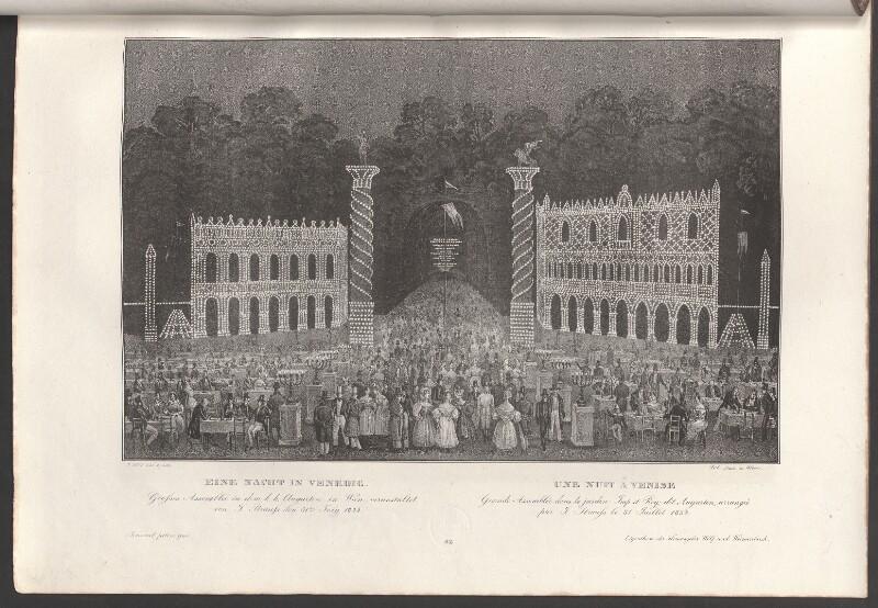 Eine Nacht in Venedig. Grosses Assemblée in dem k.k. Augarten in Wien, veranstaltet von J. Strauss  den 31.ten July 1834