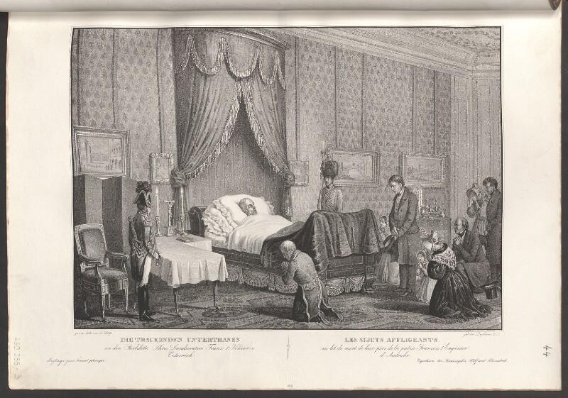 Die trauernden Unterthanen an den Sterbebette Ihres Landesvaters Franz I. Kaiser v. Oesterreich