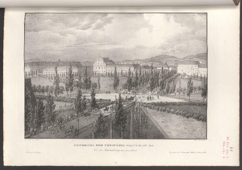 Panorama der Vorstädte Wien's Blat No. 5. Von der Schottenbastey aus gezeichnet