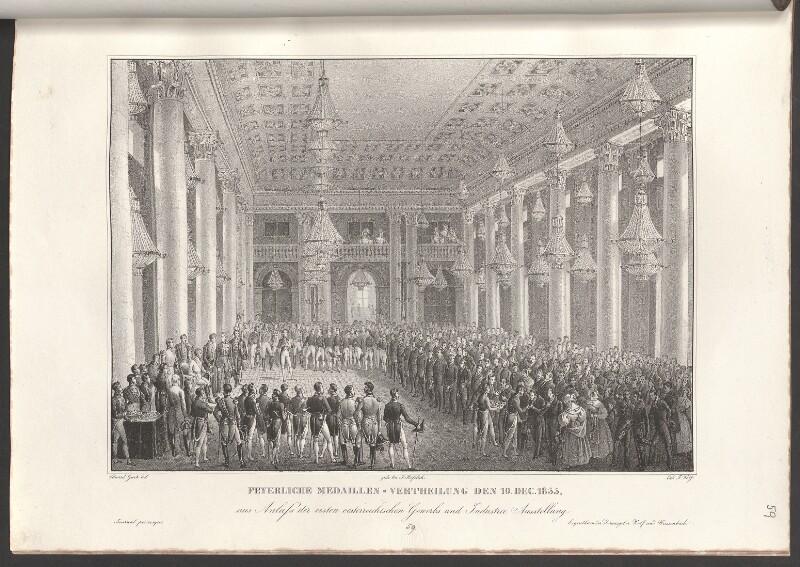 Feyerliche Medaillen-Vertheilung den 19. Dec. 1835, aus Anlass der ersten oesterreichischen Gewerbs und Industrie Ausstellung