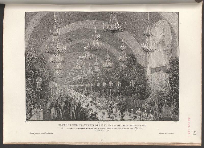 Soupé in der Orangerie des k. k. Lustschlosses Schoenbrun bei Anwesenheit Sr. kaiserl. Hoheit des Grossfürsten Thronfolgers von Russland am 10.ten Merz 1839