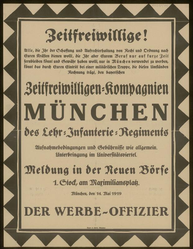 Zeitfreiwiliigen-Kompagnien München des Lehr Infanterie Regiments
