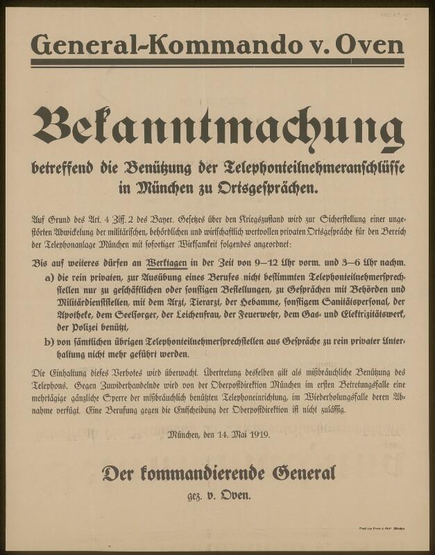 Bekanntmachung betreffend die Benützung der Telefonteilnehmeranschlüsse in München - Generalkommando von Oven