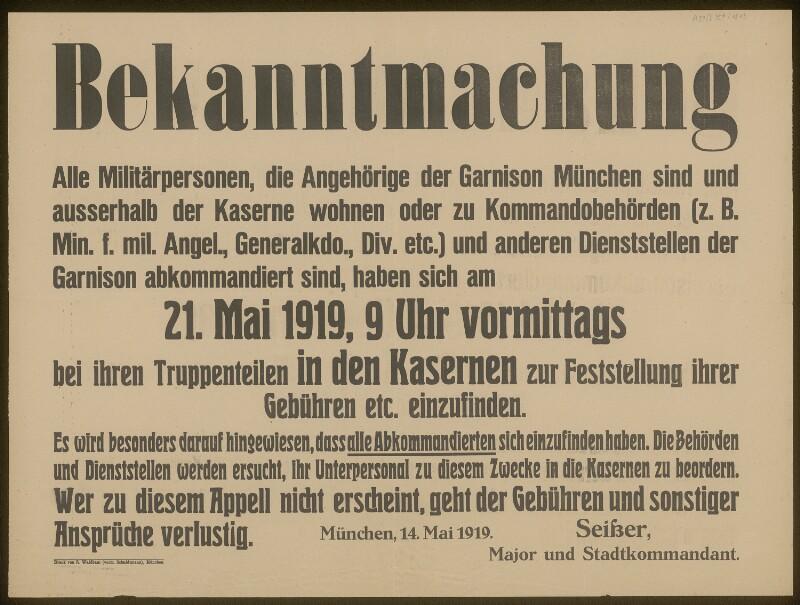 Bekanntmachung - Militärpersonen - München