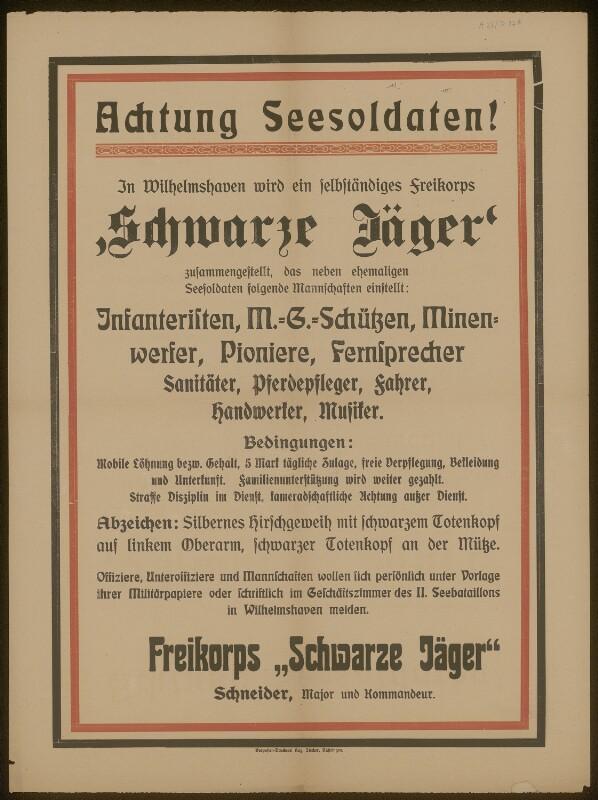 Achtung Seesoldaten! Freikorps Schwarze Jäger