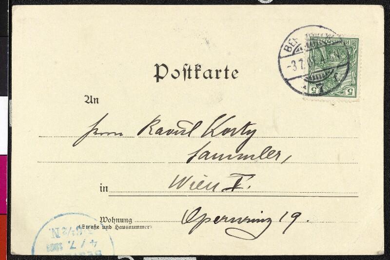 Postkarte an Raoul Korty gerichtet