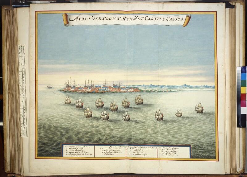 Die Burg Cavite mit holländischer und spanischer Flotte, 1647