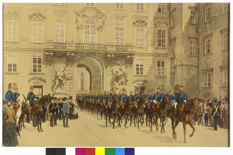 K.u.k. Dragoner-Regiment Nr. 8 im Inneren Burghof