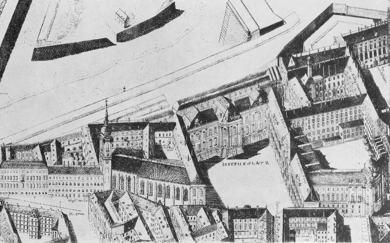 Vogelschau Josefsplatz und Umgebung 1785