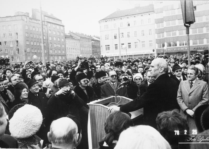 Eröffnung der ersten Teilstrecke der U-Bahn durch Bundespräsident Kirchschläger