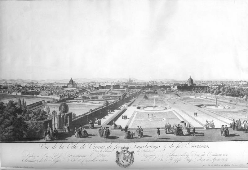Blick vom Belvedere über den Park auf Wien