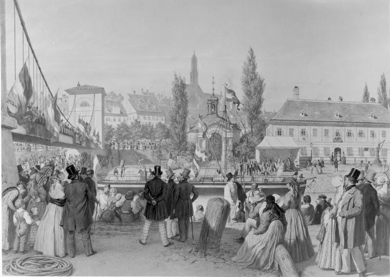 Dampfer 'Amsterdam' im Donaukanal 1845