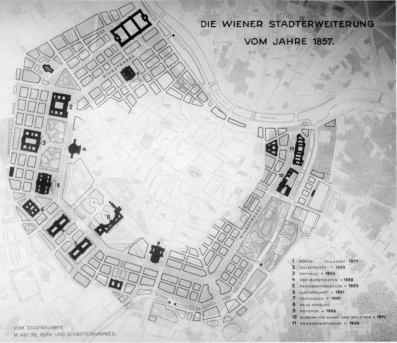 Plan der Wiener Stadterweiterung 1857