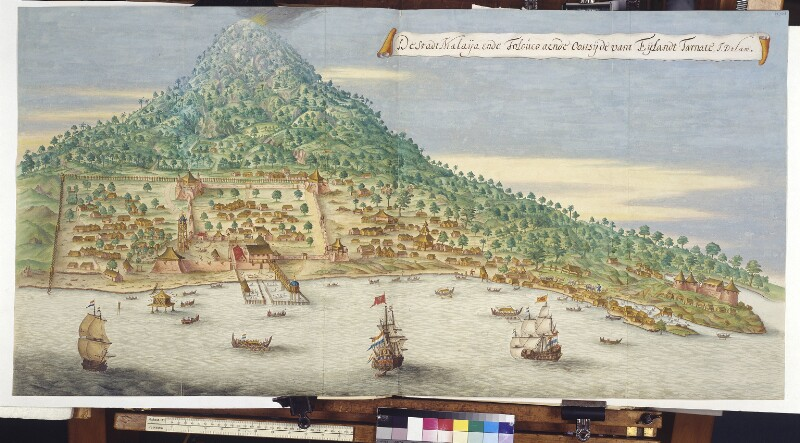 Ansicht von Malajoe und Toloko auf der Insel Ternate