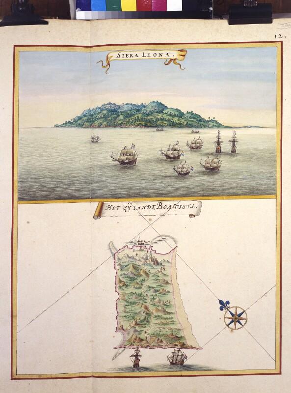 Ansicht von Cape Sierra Leone und Landkarte der Insel Boavista